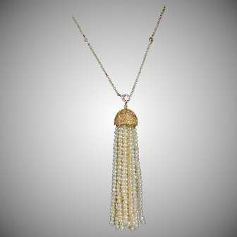 Vermeil Deco Style Seed Pearl & CZ Tassel Necklace