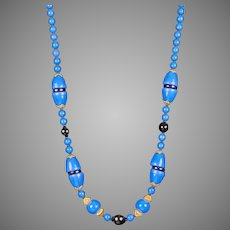 Art Deco Royal Blue Glass & Black Beads Necklace