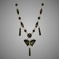Vintage Japanese Gold & Silver Inlay Necklace