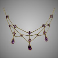 Graceful Edwardian Amethyst Crystal Festoon Necklace