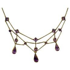 Graceful Edwardian Amethyst Crystal Festoon Necklace