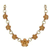 Rose Gold Filled Flowers Necklace by Krementz