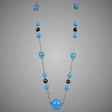 Art Deco Blue Glass & Black Beads Flapper Necklace