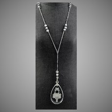 Art Deco Rock Crystal Carved Intaglio Sterling Pendant Necklace