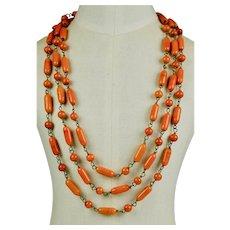 Long Art Deco Czech Beads Necklace