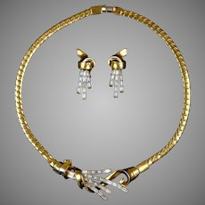 Crown Trifari Necklace Earrings Set