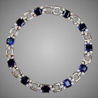 Retro Mid Century Sapphire & Diamond Glass Collar Necklace Stunning