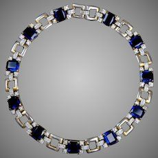 Retro Mid Century Sapphire & Diamond Glass Collar Necklace Stunning