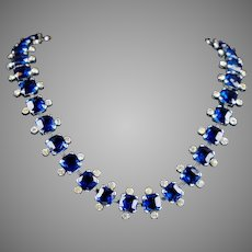 Vintage Sapphire & Diamond Glass Collar Necklace