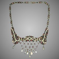 Art Deco Silver Gilt Stones Filigree Necklace