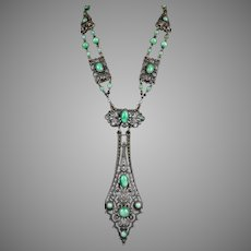 Spectacular Czech Art Deco Long Bead Necklace