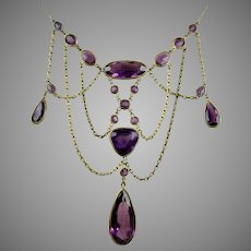 Opulent Edwardian Amethyst Crystal Festoon Necklace