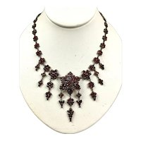 Captivating Victorian Bohemian Rose Cut Garnet Necklace RARE