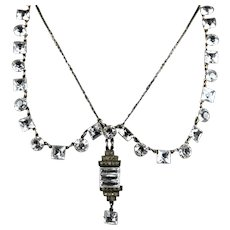 RARE Art Deco Sterling Crystal Swag Festoon Necklace