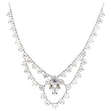 Art Deco Sterling Crystal Swag Necklace