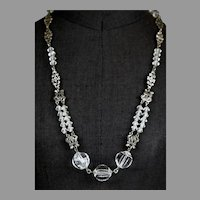 Art Deco Sterling Silver & Rock Crystal Necklace