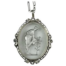 Art Deco DRGM Silver Crystal Carved Intaglio Necklace