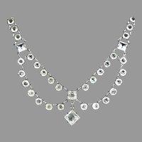 Art Deco Sparkling Crystal Swag Necklace