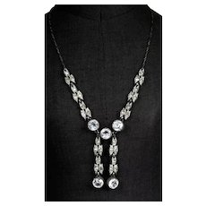 Art Deco Rhinestone Necklace with Tassels