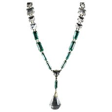 VERY RARE Art Deco Silver Green & Clear Crystal Flapper Necklace