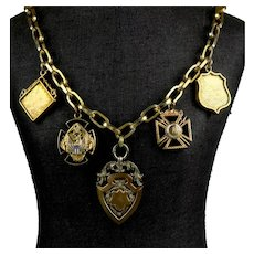 Victorian 19th C Gold, Silver, Enamel Charms Medals Necklace