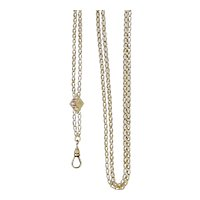 Antique Victorian Long Chain with Opals Slide