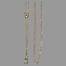 Antique Victorian Chain with Slide Opal Seed Pearls