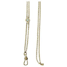 Victorian Long Chain with Opal on Gold Slide