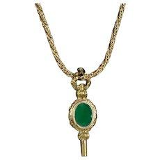Victorian Agate Watch Key Pendant on GF Chain