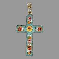 Intricate Micro Mosaic Cross Pendant on Chain