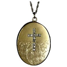 Victorian Paste Cross Locket Pendant