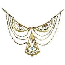 Enchanting Edwardian Lace-Like Festoon Necklace