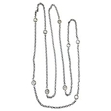 Art Deco Gun Metal Crystals By the Yard Necklace