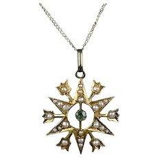 English Art Deco Gold Pearl Aqua Marine Pendant Necklace