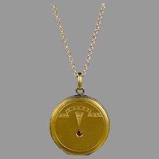 Art Deco Gold Filled Locket Red Paste Jewel