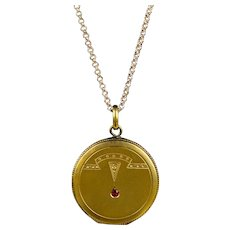 Art Deco Gold Filled Locket Red Paste Jewel