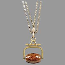 Victorian Goldstone Swivel Pendant on Double Chain