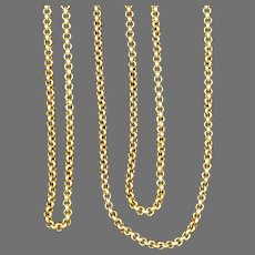 Antique Victorian Long Gold Filled Chain