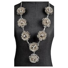 Sterling Silver Dimensional Filigree Flowers Necklace