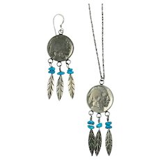 Vintage Navajo Indian Head Buffalo Nickels Dangle Earrings