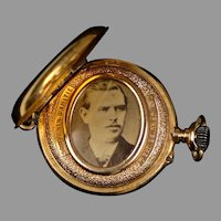 French 19th C  18K Gold Double Sided Locket Pendant