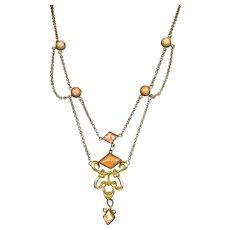 Art Deco Coral Peking Glass Festoon Necklace
