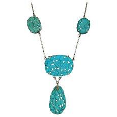 Art Nouveau 14K Gold Carved Turquoise Drop Necklace