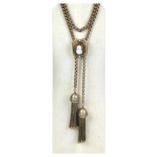 Rare Chunky Victorian Stone Cameo Slide Tassels Necklace