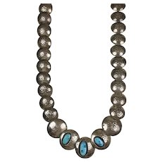 Vintage Native American Sterling Silver Turquoise Necklace
