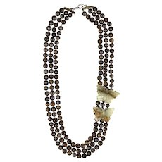 Luxurious Long Triple Strand Agate Beads Butterfly Necklace
