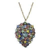 Spectacular Huge Vintage Czech Multi-color Glass Pendant