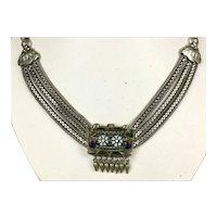 Exceptional Art Nouveau Multi-Chain Silver Enamel Slide Necklace
