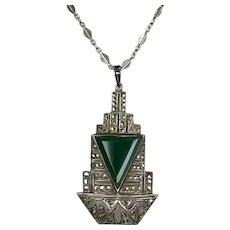 Art Deco Sterling Marcasite Chrysoprase Pendant Necklace