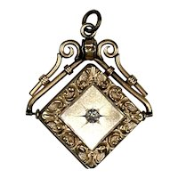 Victorian Chased Gold Filled Paste Locket on Chain